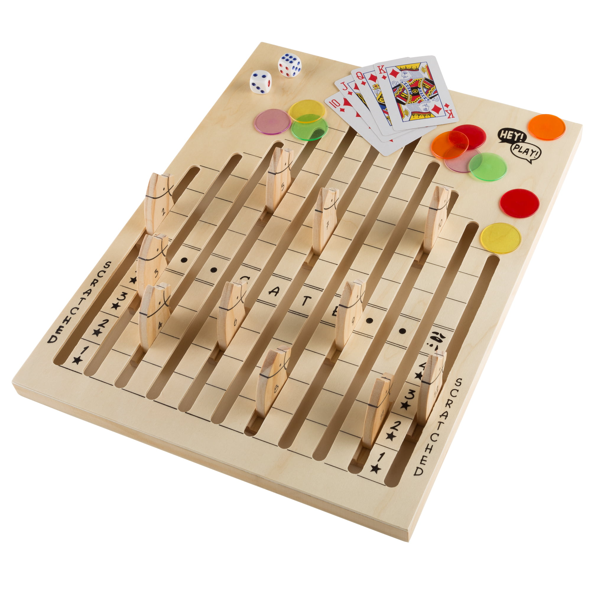 Wooden Horse Race Game With Dice Cards And Chips By Hey Play Walmart Com Walmart Com