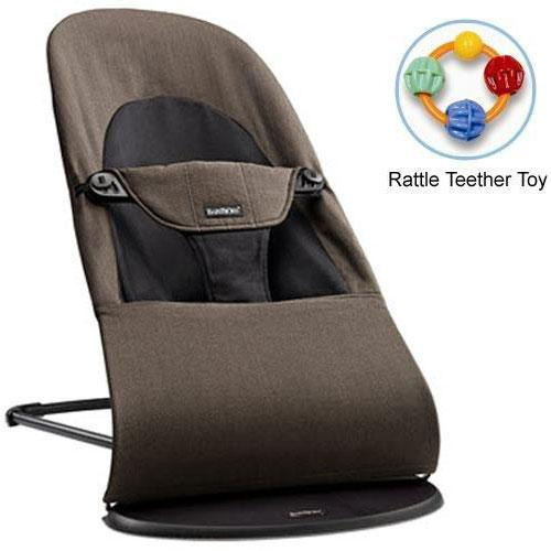 Baby Bjorn 005027US Bouncer Balance Soft Organic Cotton Black Brown with Rattl by BabyBj%C3%B6rn
