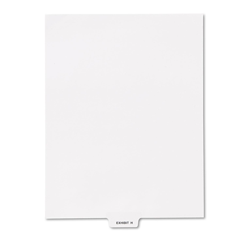 """80000 Series Legal Index Dividers, Bottom Tab, Printed """"Exhibit H\ by Kleer-Fax"""