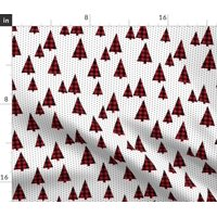 Christmas Plaid Trees Tree Red Buffalo Check Fabric Printed by Spoonflower BTY