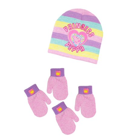 Infant Toddler Girls Peppa Pig Hat and 2 Pair Mitten Set