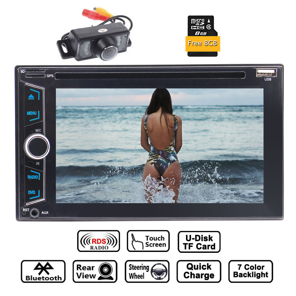 Double 2 Din GPS Car Radio Stereo with 6.2 ''Capacitive Touch Screen Support GPS Sat Navi DVD CD Player FM AM RDS Radio Bluetooth AUX USB Dual SD Card Slot with 8GB Map Card +Rear Camera+Remote C