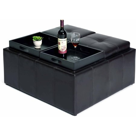 Hodedah Faux Leather Storage Ottoman With 4 Flip Over