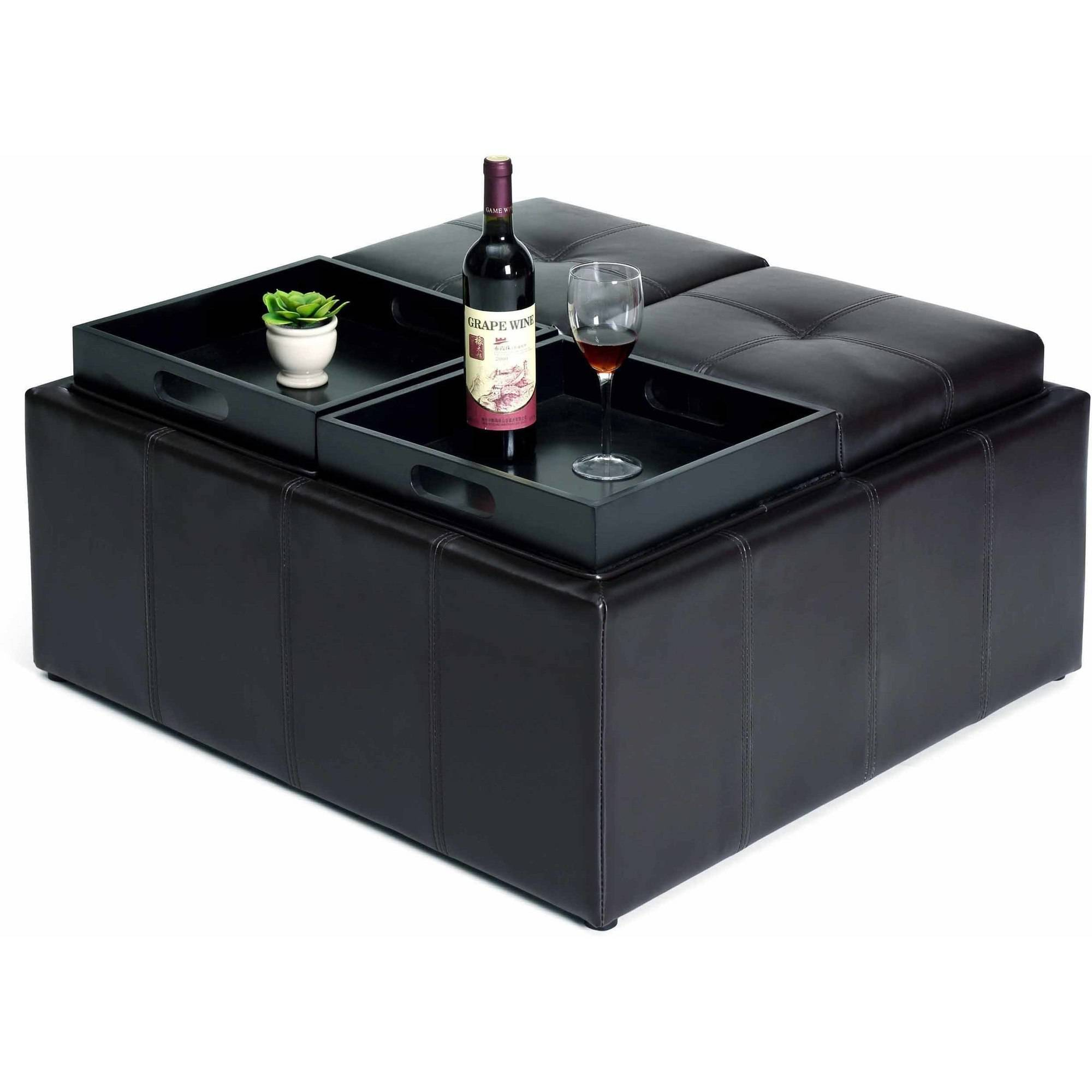 Hodedah Faux Leather, Storage Ottoman with 4-Flip over Serving Trays, Black