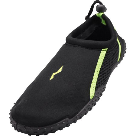 Norty Big Kid Young Mens Sizes 5-10 Water Aqua Sock Shoe Pool Beach Surf Slip On, 40205 Black/Lime / 6B(M)US