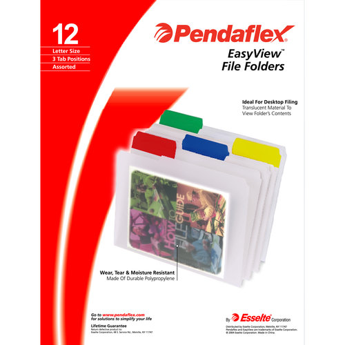 Pendaflex EasyView Poly File Folder, Clear, 12ct