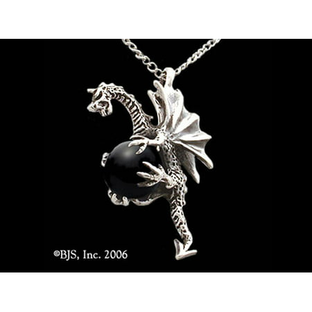 RBI Necklace Flying Dragon Treasure Black Obsidian Gemstone to Ground and Center Yourself Protect Against Abuse and Negativity Made of Sterling Silver