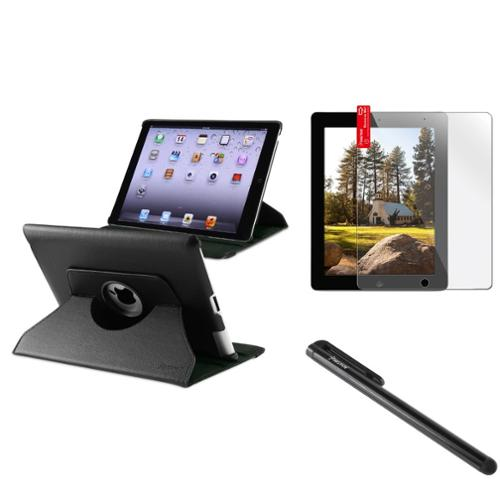 Insten For Apple iPad 4 4G Gen 3 3rd 2 360 Rotating Magnetic PU Leather Case Cover Black