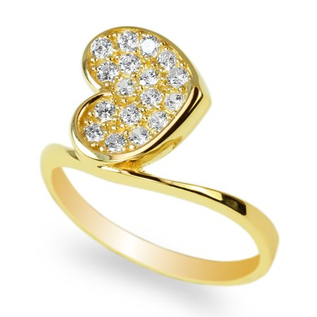 - Ladies 10K Yellow Gold Heart Shaped Luxury Solid Ring with Round CZ Embedded Size 4-10