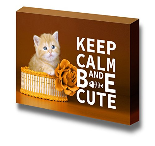 "Canvas Wrap Wall Art - Keep Calm and Be Cute | Modern Wall Decor Stretched Canvas Prints Ready to Hang - 12"" x 18"""