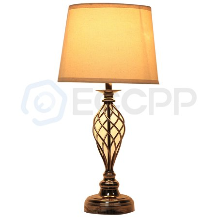 25 Table Light Sofa Side With White Fabric Shade Cage Lamp Base In Antique Brown Finish 27e