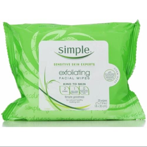 Simple Exfoliating Facial Wipes 25 Each (Pack of 3)