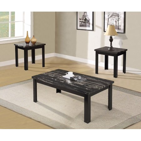 Coffee/End Table Set, Faux Marble & Black - Pack of 3 - Black Marble Coffee Tables