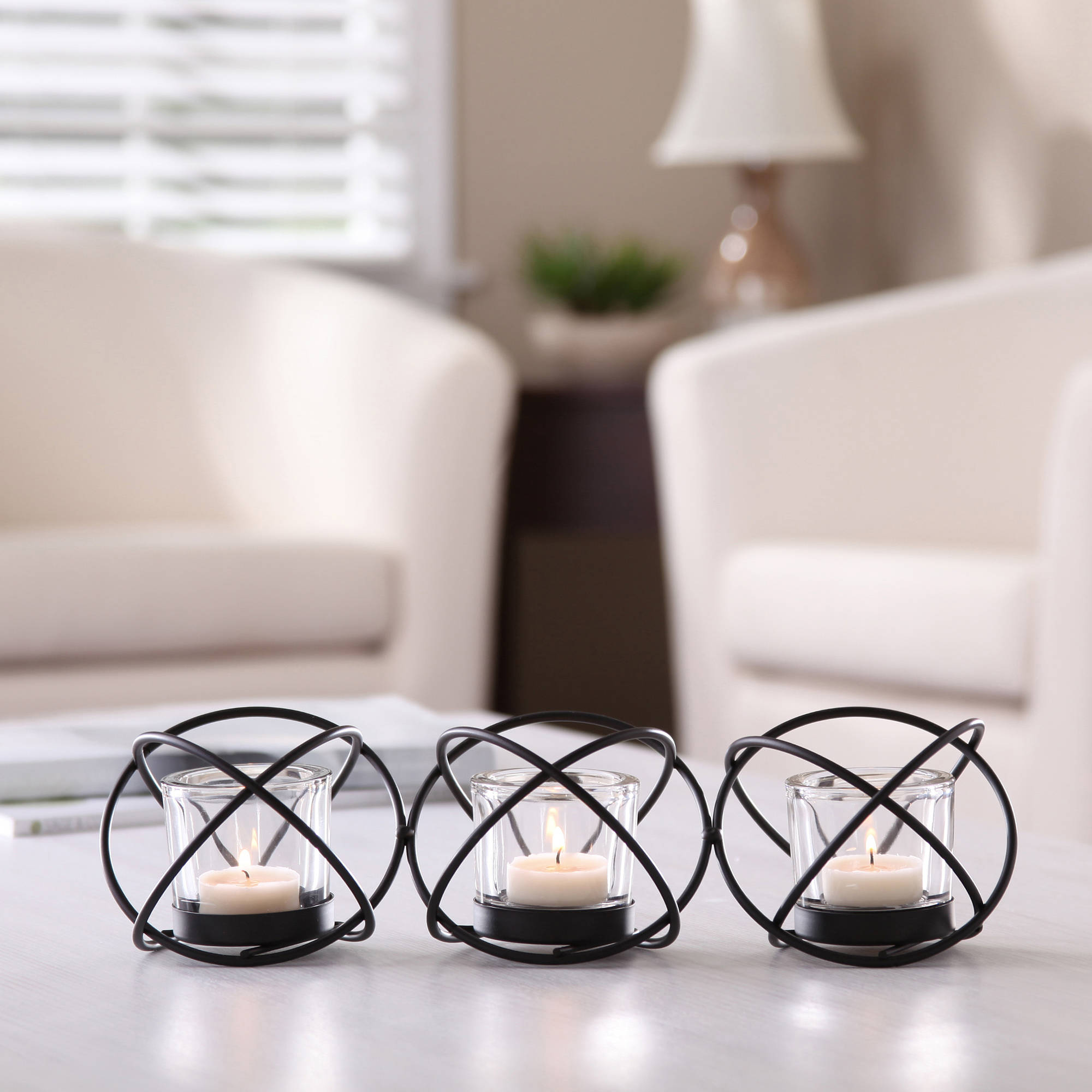 Better Homes and Gardens 3 Tealight Intertwined Rings Candle Holder, Black by