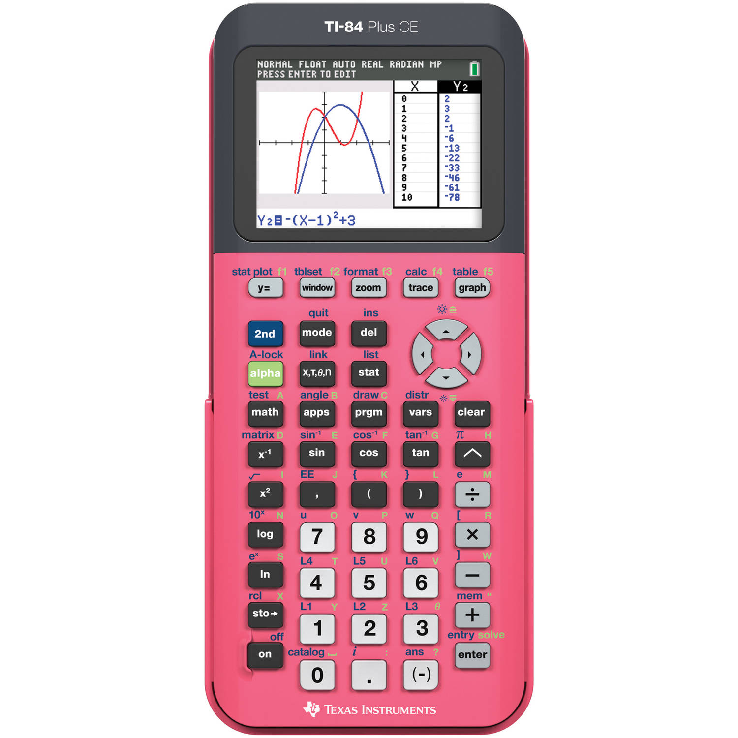Texas Instruments TI-84 Plus CE Graphing Calculator, Coral