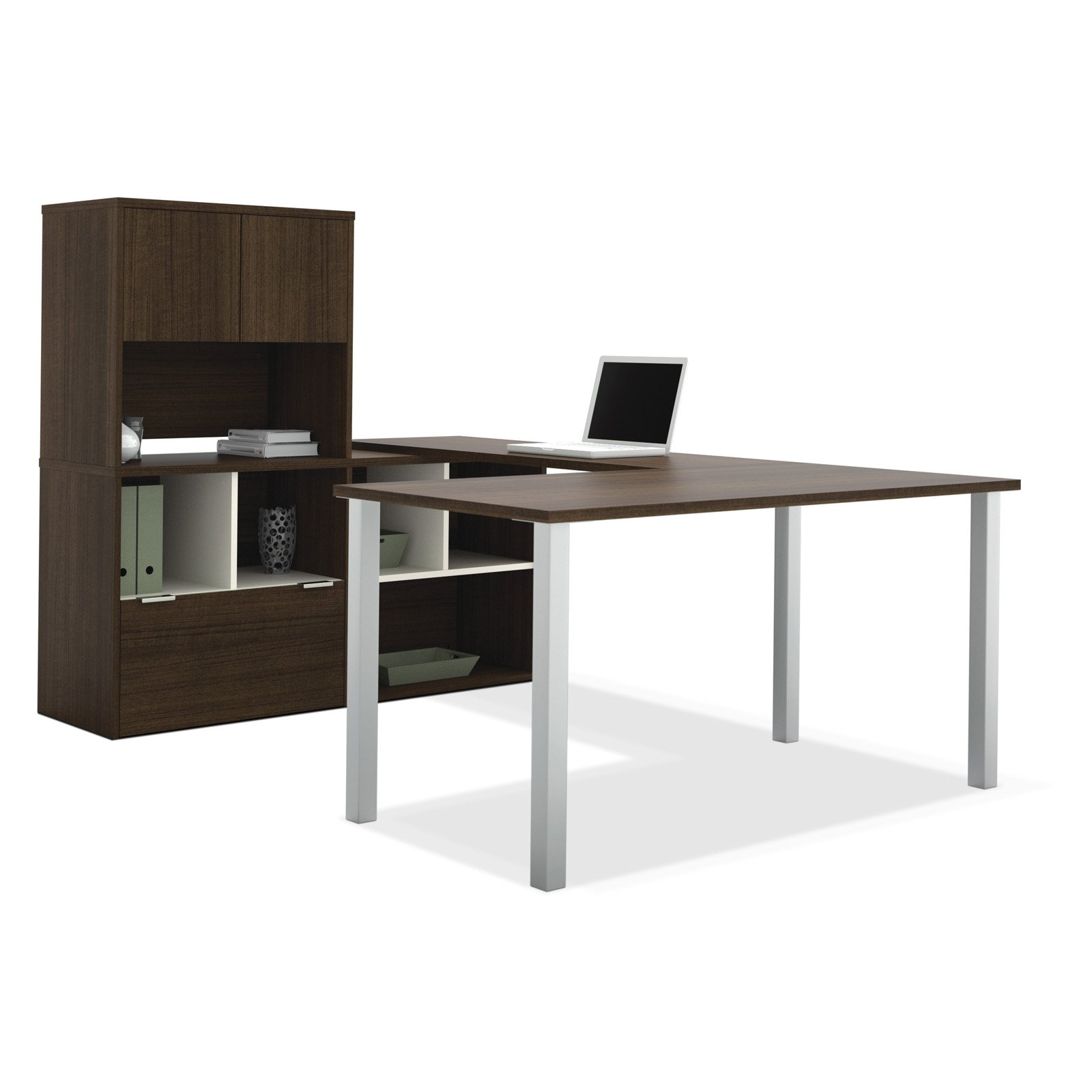 Bestar 50851-78 Contempo U-Shaped Desk with Storage Unit Tuxedo by Bestar
