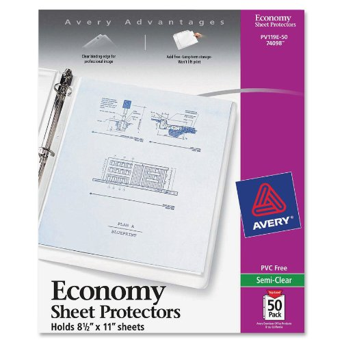"Avery Economy Weight Sheet Protector - Letter 8.50"" X 11"" - Rectangular - Polypropylene - Clear (AVE74098)"