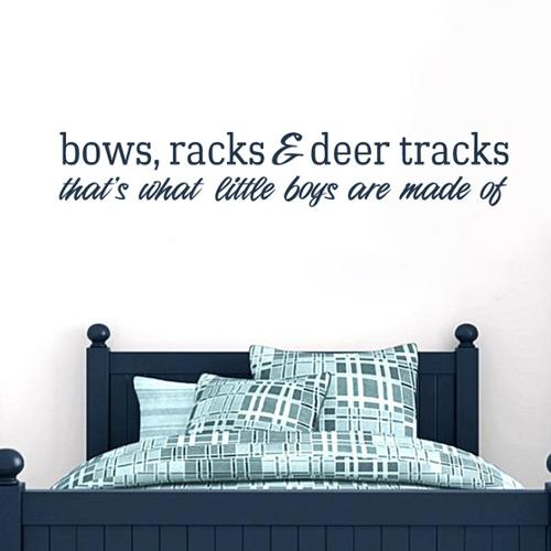 Sweetums Bows Racks and Deer Tracks 36-inch x 6-inch Vinyl Wall Decal