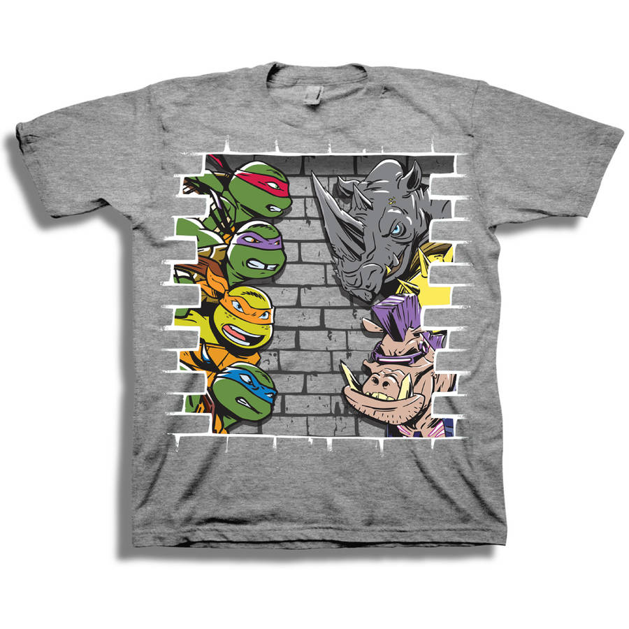TMNT Vs Bebop and Rocksteady Boys' Short Sleeve Graphic Tee T-Shirt