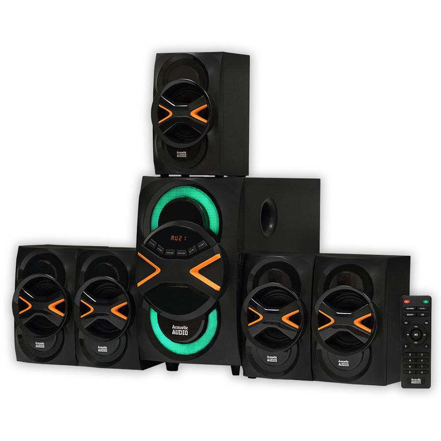 Acoustic Audio AA5210 Home Theater 5.1 Bluetooth Speaker System with LED Lights and FM Tuner
