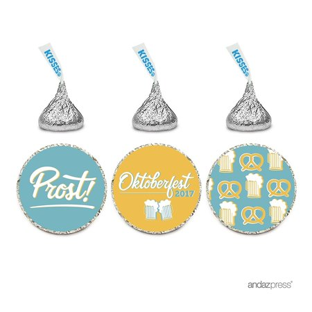 Chocolate Drop Labels Trio, Fits Hershey's Kisses Party Favors, Oktoberfest, 216-Pack, Envelope Seals Stickers