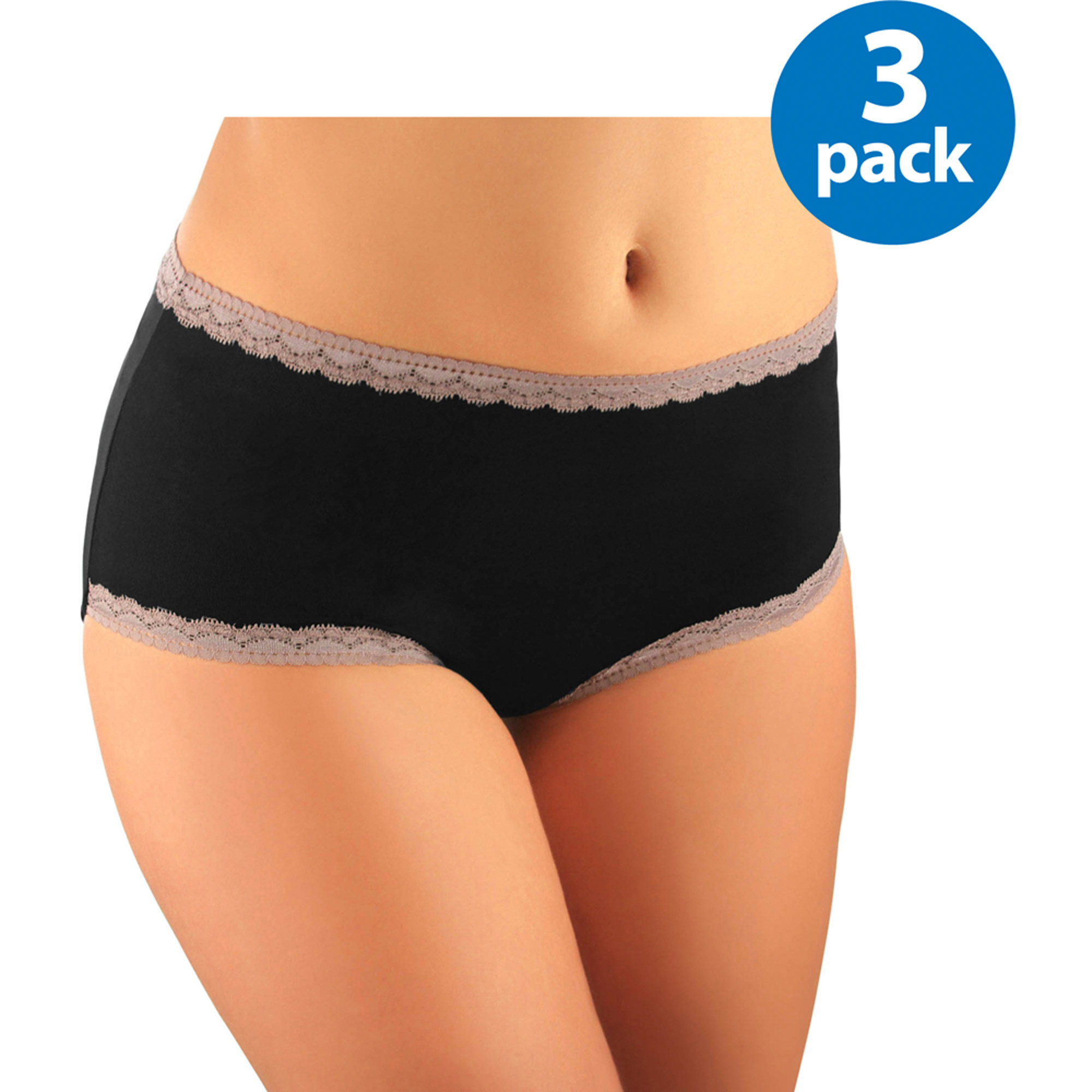 Best Fitting Women's Microfiber w/Lace Brief, 3-Pack