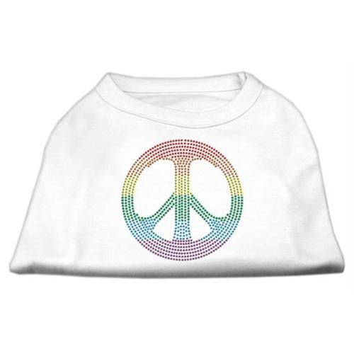 Rhinestone Rainbow Peace Sign Shirts White M (12)