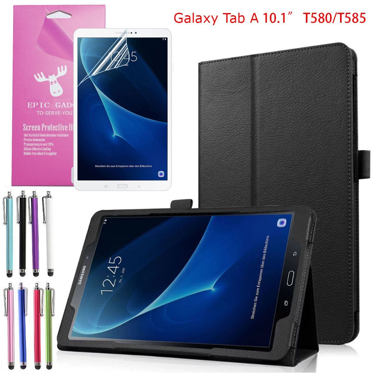 "(SM-T580/T585) Galaxy Tab A 10.1"" Folio Case, EpicGadget(TM) Lightweight Slim Smart Cover Leather Case Stand Cover with Auto Sleep/Wake for Tab A 10.1 Tablet + Tab A 10.1 Screen Protector (Black)"