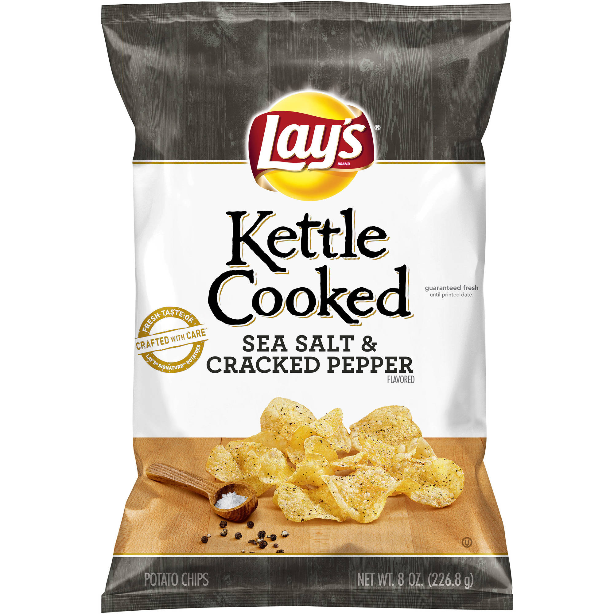 Lay's Kettle Cooked Sea Salt & Cracked Pepper Flavored Potato Chips, 8 oz