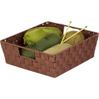 Honey Can Do Woven Basket with Handles and Iron Frame, Java Brown