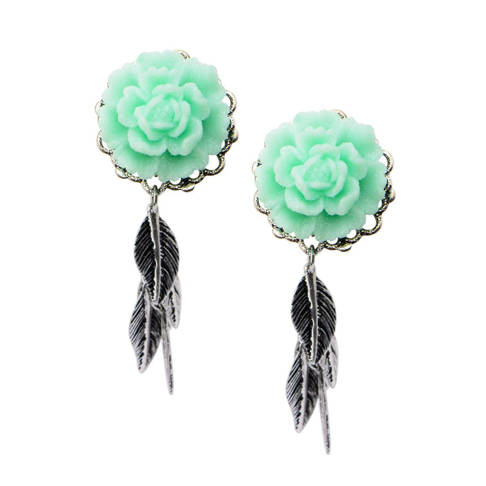 Mint Green Rose Leaf Dangle Plugs Pair