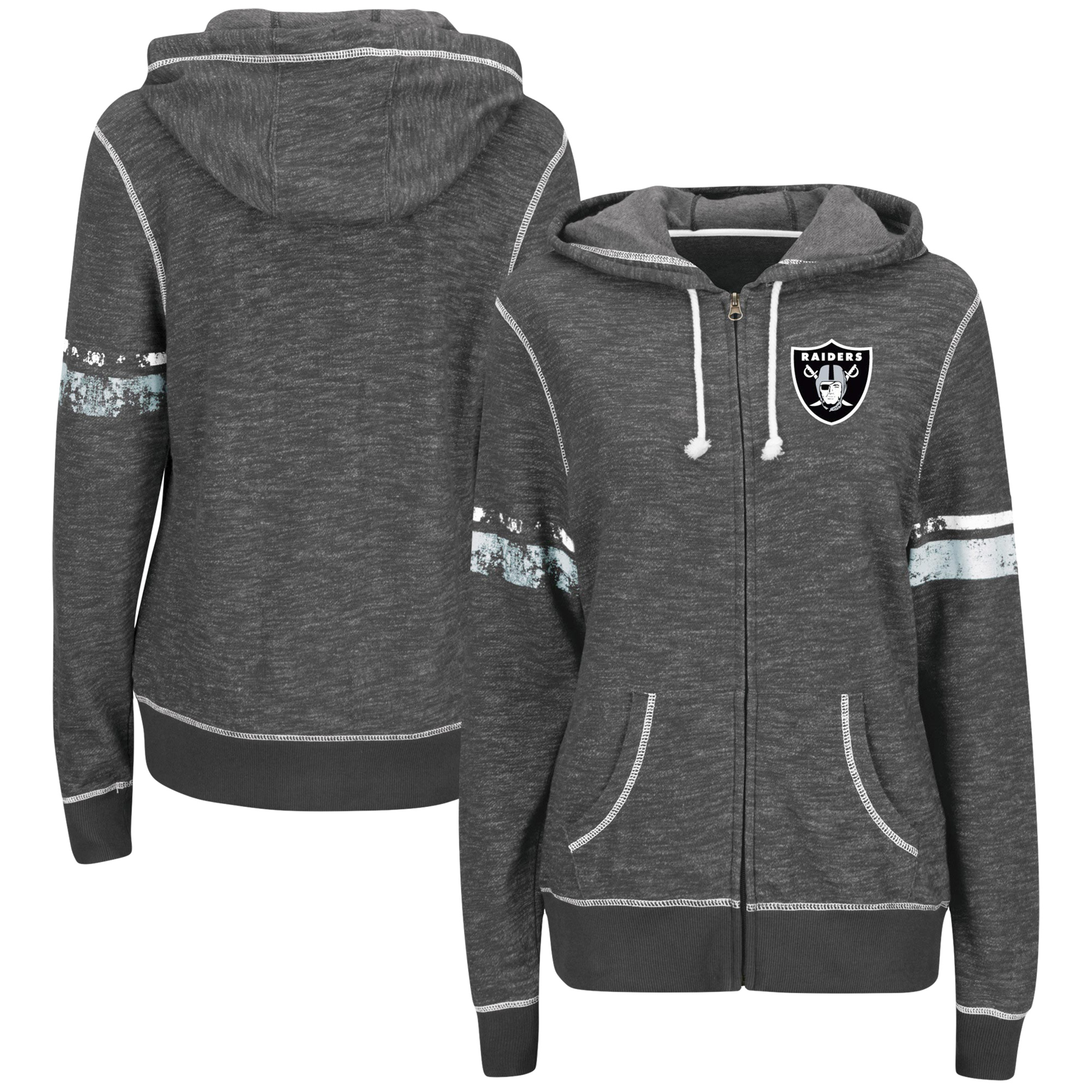 Oakland Raiders Majestic Women's Plus Size Athletic Tradition Full-Zip Hoodie - Charcoal
