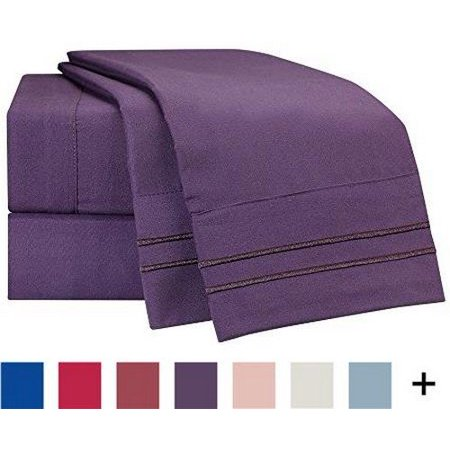 Clara Clark Supreme 1500 Collection 5pc Bed Sheet Set - Split King Size, Purple Eggplant, Split King Size 5pc Set - Flat Sheet 108