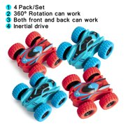 NK HOME 4 Pack Friction Powered Car Toys for 2 3 4 5 + Year Old Boys Girls, Double-sided Stunt Flip Inertia Car, Push and Go Toy Cars for Toddlers, 360 Rotation Front and Back Toys Vehicle