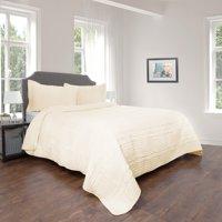 Lavish Home Hypoallergenic Oversized Striped Ruffle 2-3 Piece Quilt Bedding Set