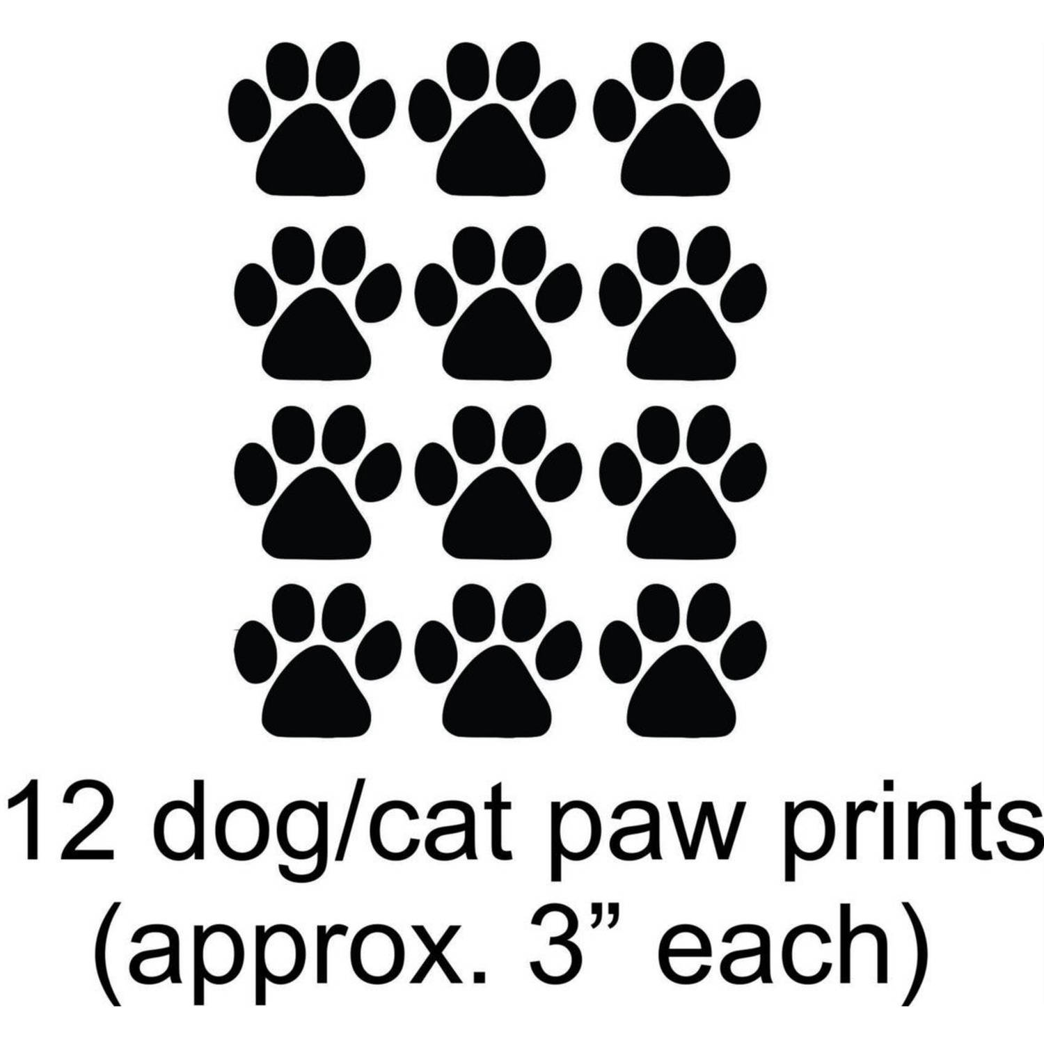 "12 Dog/Cat Animal Paw Prints Vinyl Wall Decal, 15"" x 20"", Black"