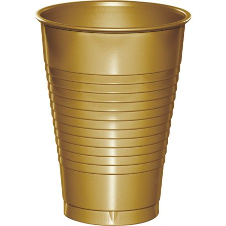 Color Plastic Cups (Touch of Color Plastic Cups, 12 Oz, Glittering Gold, 20)