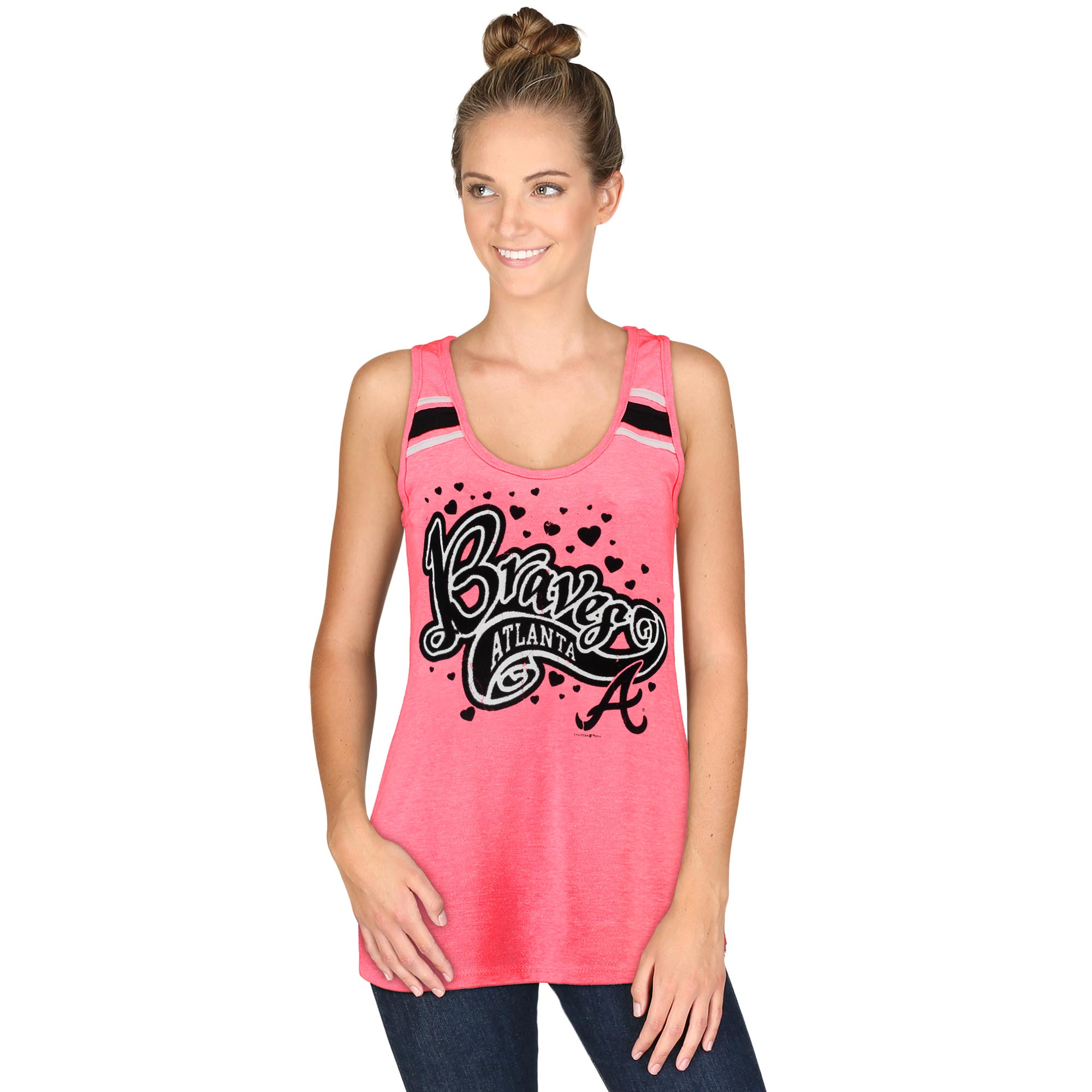 Atlanta Braves 5th & Ocean by New Era Women's Racerback Tank Top with Contrast Stripes - Pink