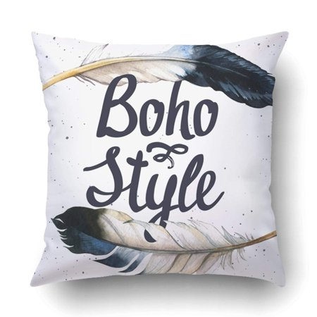 BPBOP boho chic Hand drawn watercolor feathers Hippie Pillowcase Throw Pillow Cover Case 18x18