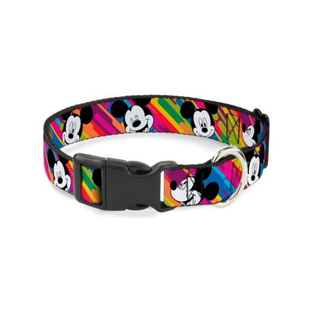 Plastic Dog Collar (Buckle-Down Mickey Mouse Expressions Multicolor White/Black Disney Dog Collar Plastic Clip Buckle,)
