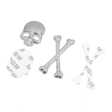 Silver Tone Metal Skull Head Shaped Decorative Stickers Badge Emblem for