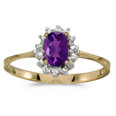 10k Yellow Gold Oval Amethyst And Diamond Ring Judith Ripka Amethyst Ring