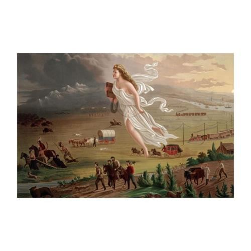 Pioneers Travel West By Rail And Wagon Print (Canvas 24x36)
