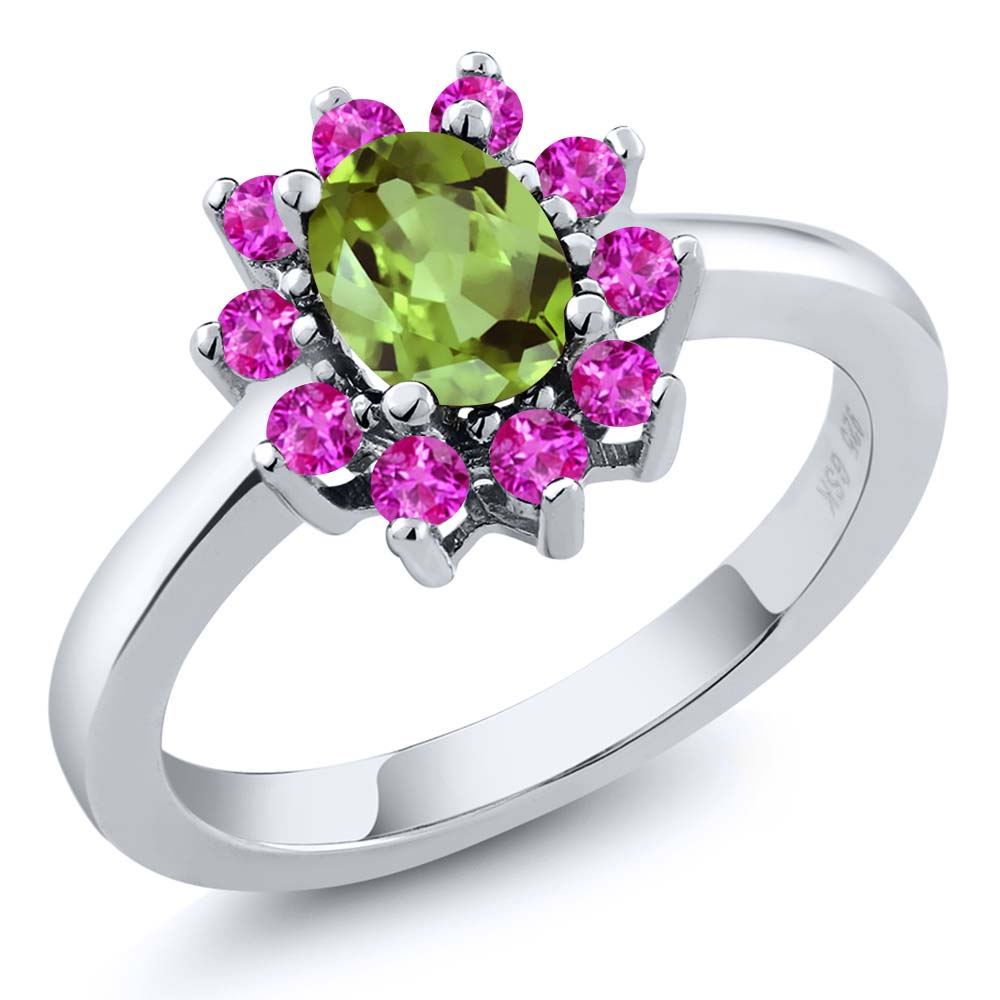 1.30 Ct Oval Green Peridot Pink Sapphire 925 Sterling Silver Ring