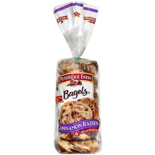 Pepperidge Farm Pre-Sliced Cinnamon Raisin Bagels, 6 ct, 21 oz