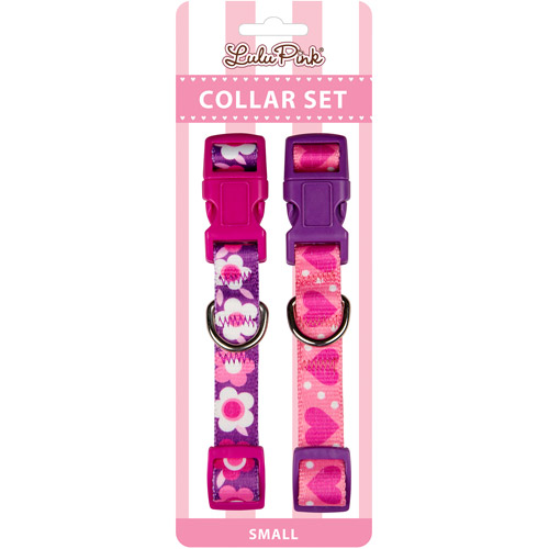 Simply Dog Pink Purple Floral and Pink Purple Heart Collar Set