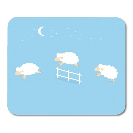 SIDONKU Blue Count Counting Sheep Jumping Over The Fence Green Sleep Jump Cute Mousepad Mouse Pad Mouse Mat 9x10 inch
