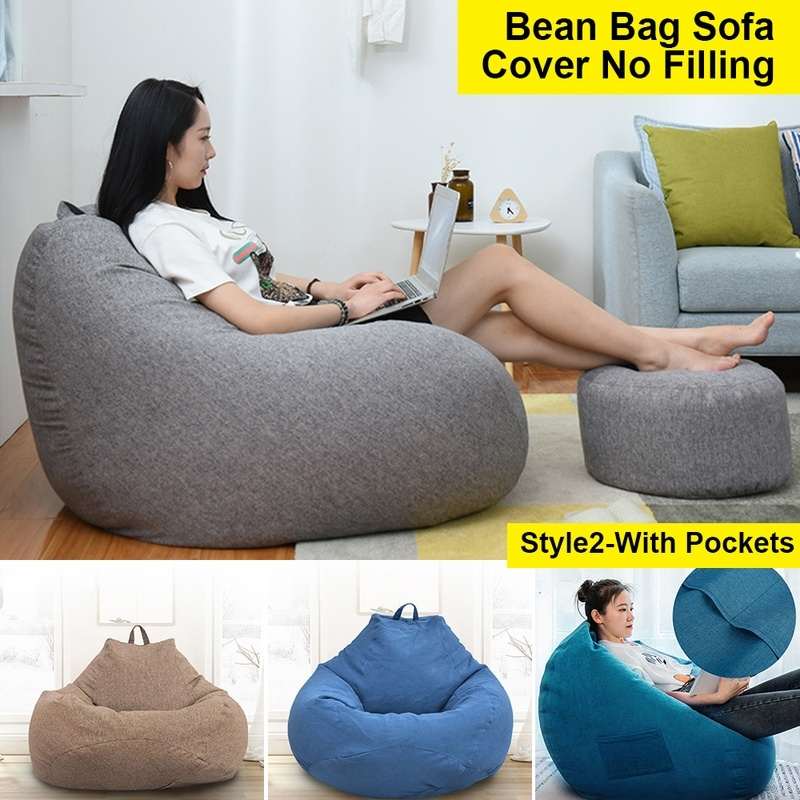N //C Sofa Cover Lounge Bean Bag Waterproof Stuffed Animal Storage Bean Bag Childrens /& Adults Toys Green, OneSize