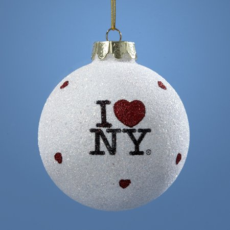 "Club Pack of 12 ""I Love NY"" Glass Ball Christmas Ornaments 3.25"" (80mm)"