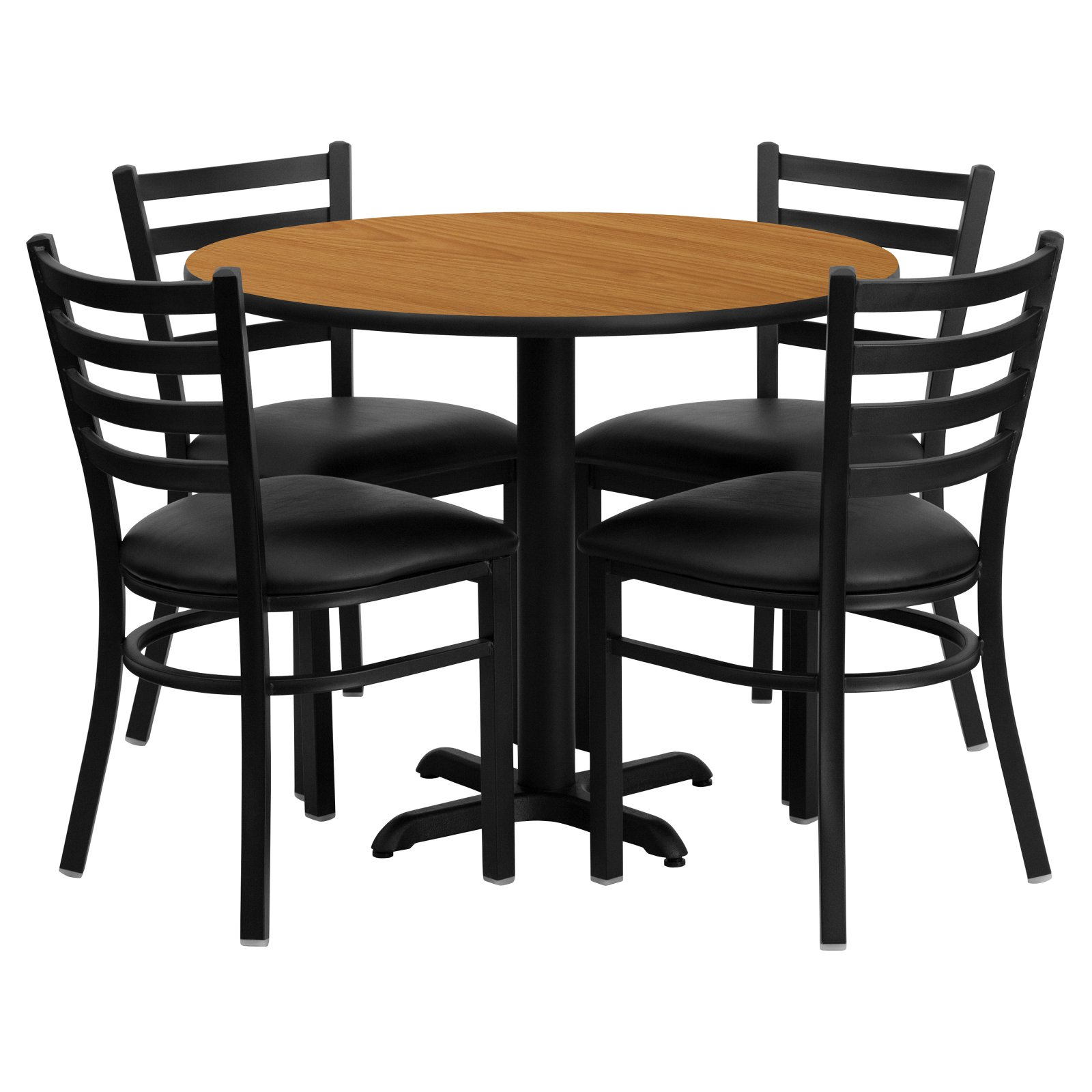 Flash Furniture 36'' Round Natural Laminate Table Set with 4 Ladder Back Metal Chairs, Black Vinyl Seat Black, Natural